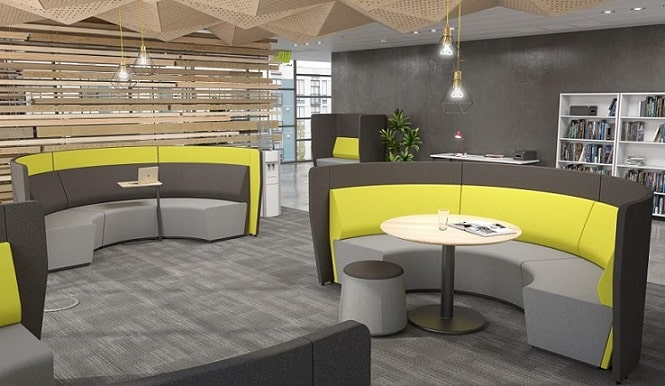 Yellow activity-based office furniture