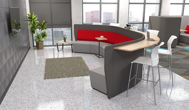 red activity-based office furniture