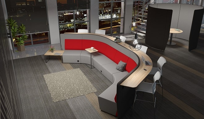 red activity-based office furniture at night