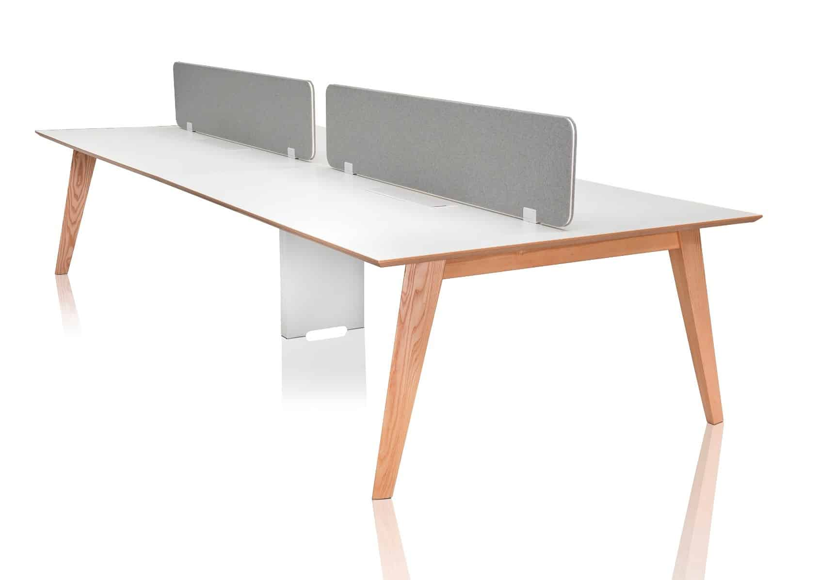 Serafino american oak office workstation with divider