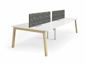 valesko angled office workstation with wooden feet