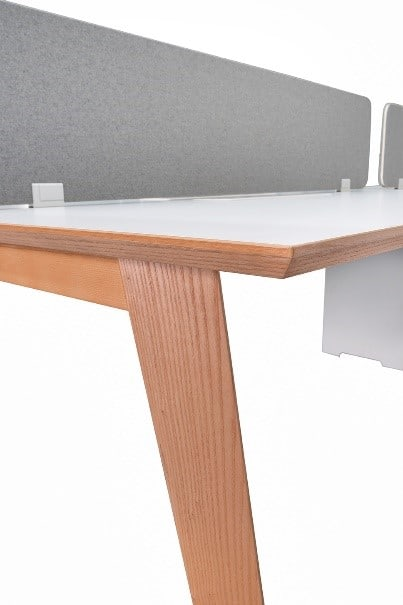 Valesko dividers with american oak office workstation angled view