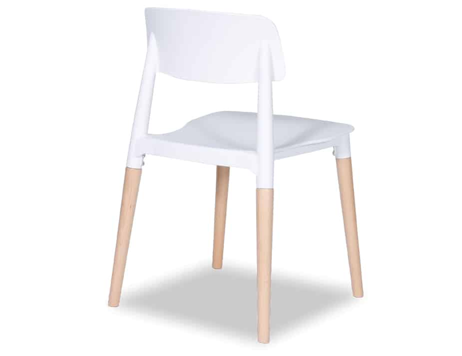 back-angle view of white Lecci 4 oak-leg office chair