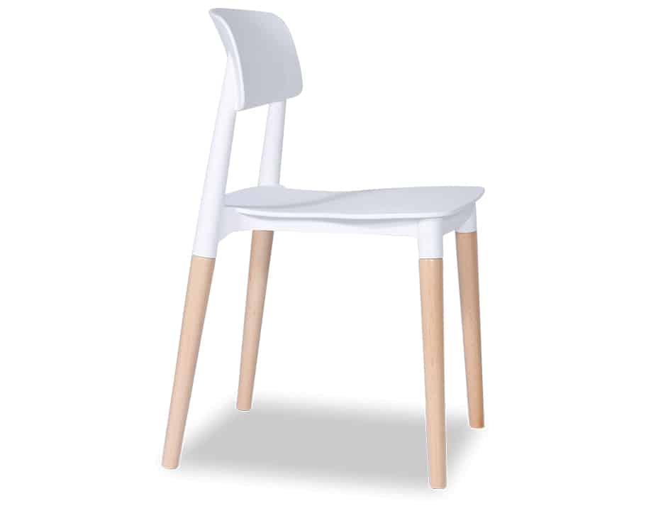 side view of white Lecci 4 oak-leg office chair