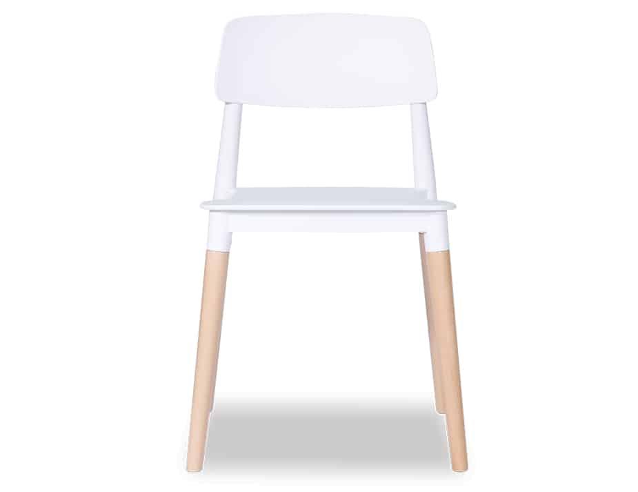 front view of white Lecci 4 oak-leg office chair