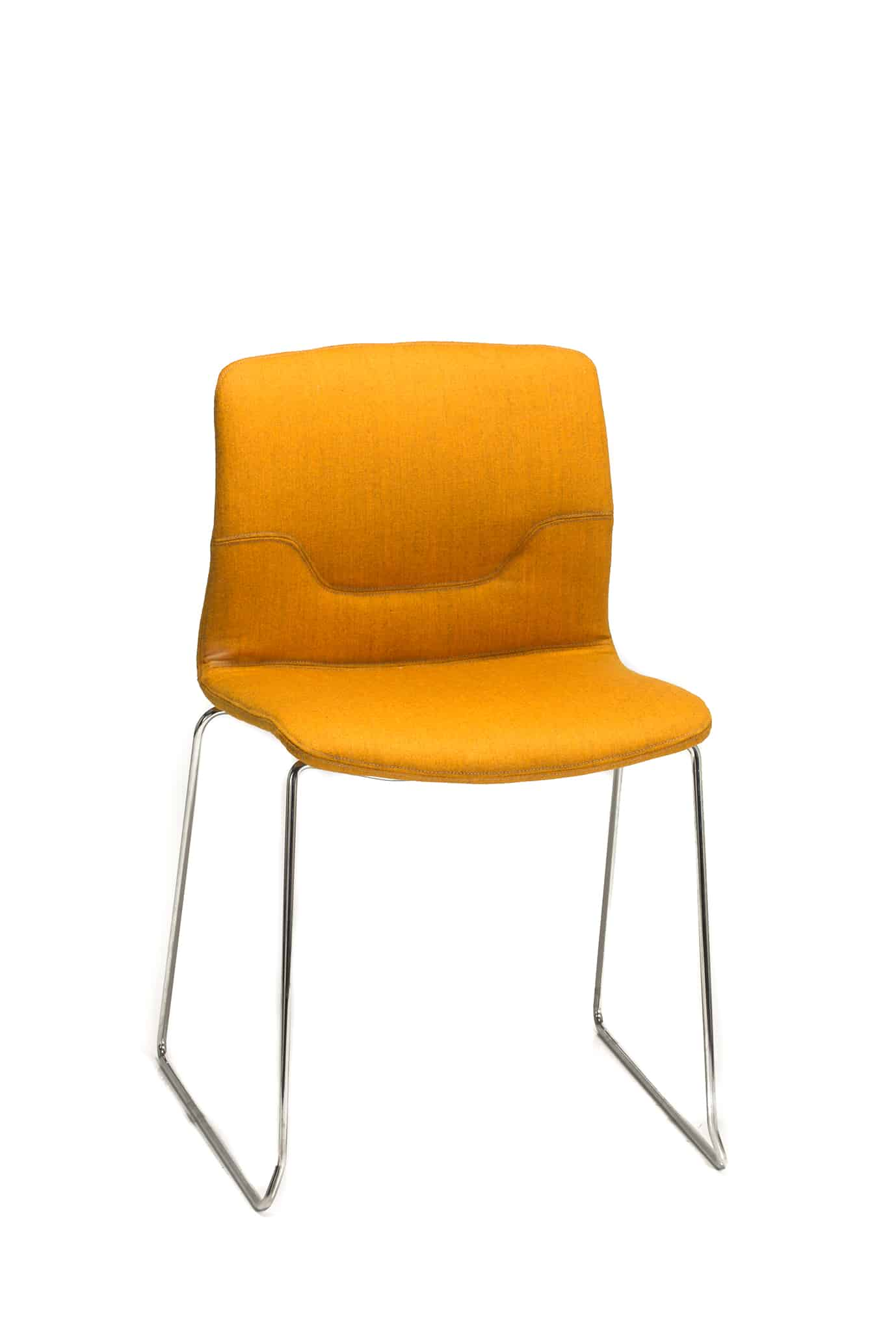orange all-white Capper chair with fixed legs