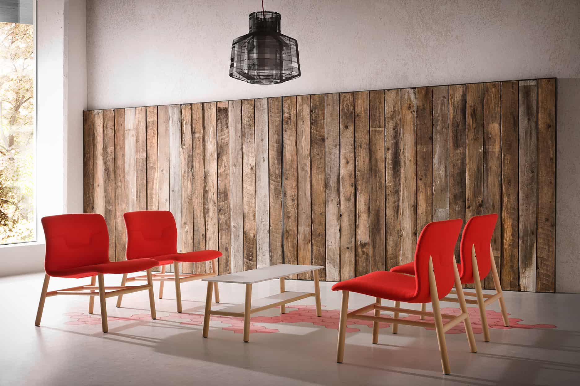 4 red Capper visitor chairs