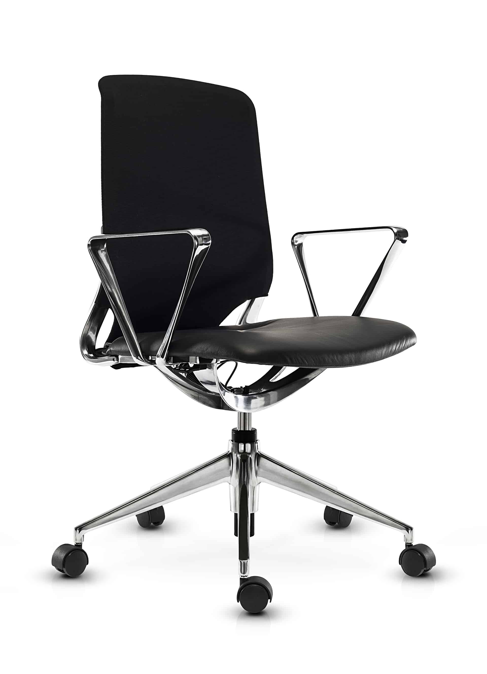 Contessa office chair black with short backrest