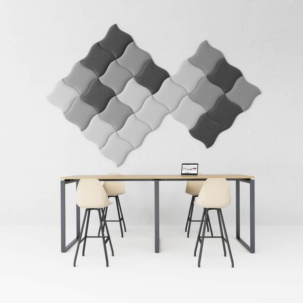 gray hush wall pads above a table