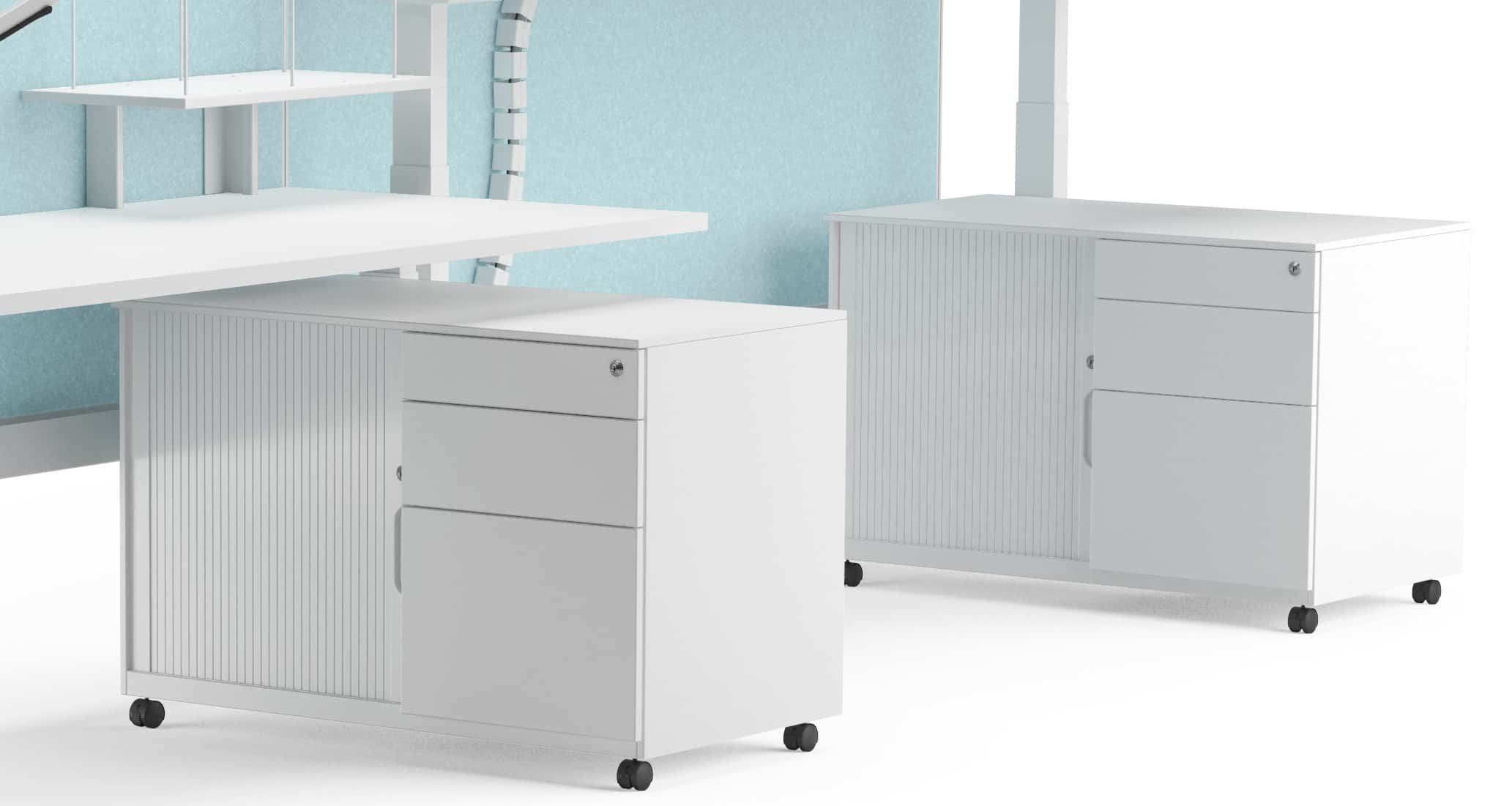 white mobile pedestal for office storage
