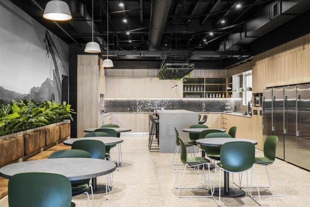 Office kitchen and staff dining in the future workplace