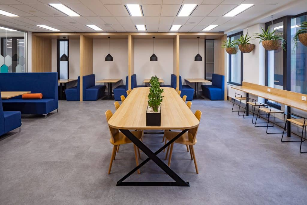 Future workspace with large table for hot desking